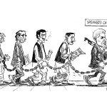 Todays editorial cartoon by @sabirnazar1 #Pakistan #PTI #resignations http://t.co/CeEkpCf6vo