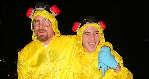 Guy Ritchie & son Rocco wore matching BreakingBad costumes to the UNICEF Halloween ball
