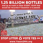1.25 BILLION bottles end up as trash or litter each year that would be recycled if #YesOn2MA is passed. #mapoli http://t.co/6uPUE3MkCi