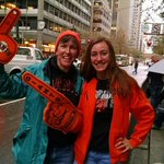 Cathy and Audrey Dugan on #SFGiants parade route since 7am. #rain on and off. @nbcbayarea coverage at 11am! http://t.co/DIJc60VV8t