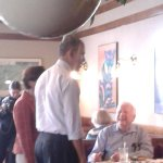 Heres a pic of @BarackObama at Greggs people very excited to meet POTUS @abc6 http://t.co/hKh423acsm