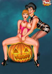 I like lesbian way in my parodies. There are erotic cartoon parody in Halloween too. #trampararam #lesbian