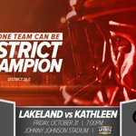 Only One Team can be District Champions. Lakeland at @KHS_Football tonight at 7pm. @BHSN @Ry_Bass @barrettcreative http://t.co/edSJ0hlEMb