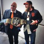 Tag team champions Jon Miller and @WWEDanielBryan, aka The Magic Wandoos #SFGParade http://t.co/nxhKwenbYH