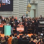 Posey, MadBum and Vogelsong take the stage at Civic Center rally. #championsforever http://t.co/B5AT1rlm3I