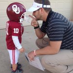 """We are ready for tonight! Kaden wanted to be his fave OU """"hut-hut"""" player @B_Bell10!  @OU_Athletics @TheFbBrainiacs http://t.co/REOwEpGr3W"""