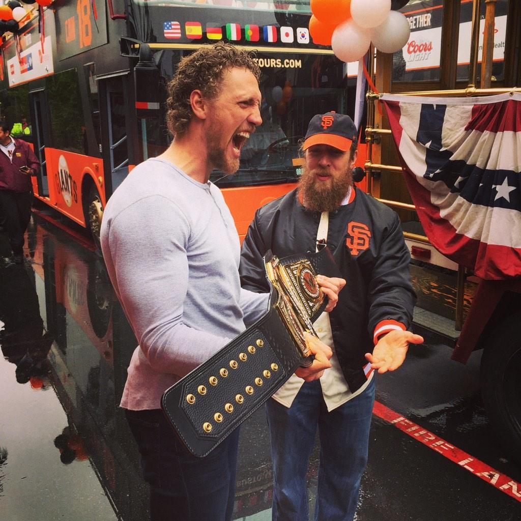 The belt!! The dream!! Thank you @WWEDanielBryan and @WWE! #Yes http://t.co/u4X9fE4av8
