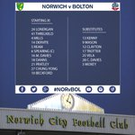 Confirmation of the #BWFC team to face @NorwichCityFC at Carrow Road this evening. #NORvBOL http://t.co/OrW2WGXrd1
