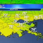 Mid 70s. Wind N 15-25 mph. Cooler drier air beginning to move into area #nola #mswx @wdsu http://t.co/IR7wcNZdZz