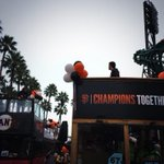 Buster and Huddy just having your typical pregame chat on top of buses. We are rolling. #SFGParade http://t.co/RSnxiP4prB
