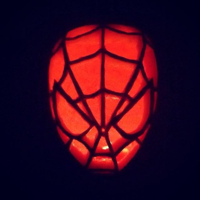 @News1130radio Here is this year's pumpkin, carved last night. Spider-Man!! http://t.co/M1kjtbYa1Z