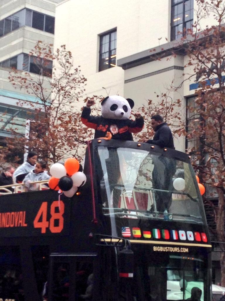 OMG! I just asked @KFP48 to put on the Panda head and he fucking did it!!! #WorldSeriesParade http://t.co/Zh7Sw0gWH7
