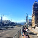 People already lining the streets, ready for the march at 9am #AnzacAlbany. Look at that gorgeous blue sky! http://t.co/ElZiA4SXvQ