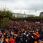 The crowd is ready at civic center. #Sfgparade http://t.co/WVgnHAxCRV