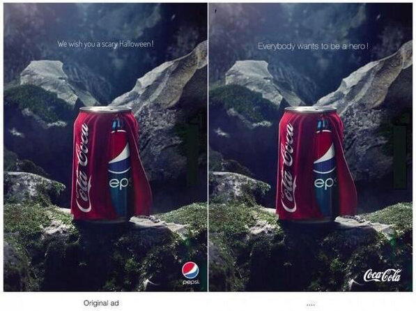 Pepsi made an ad for Halloween (left). Coca Cola responded (right). http://t.co/dRMSNDcUld