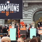 Trophy number 3 is on its way to the stage! #SFGParade #SFGiants http://t.co/ijCzMBJvih