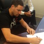 .@klaythompson making it official. #Warriors http://t.co/Wpl08yTzsV