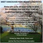 Attend the Park Board All Candidates Meeting 730 PM Nov 3 @thebillybishop @TuyTanat @VoteWiebe @VanGreens #vanpoli http://t.co/5ePBLnqvyC