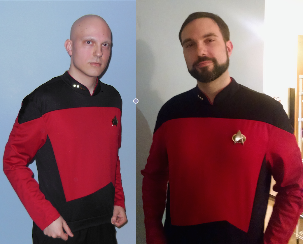 nice MT @leeflower My friend Tom. Last year (left), as Picard, because of chemo. This year: Riker, and recovered. http://t.co/LJo2hMgQWC