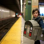 My son as the L Train on the L Train Stop as the L Train approaches. #Halloween @MTA http://t.co/i8d0YVQPJK
