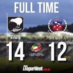 FULL TIME! NZ Kiwis 14 beat Toa Samoa 12. #4Nations http://t.co/t2IT9FXkdF
