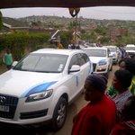#FinalFarewell a fleet of cars waits for the family outside the Meyiwa home in Umlazi where Senzos body is http://t.co/kSo5H4vuhS