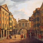 Fleet Street in #London as it looked c.1765 with the Temple Bar & the famous Devil Tavern (which was demolished 1787) http://t.co/RzdhBJeGP1