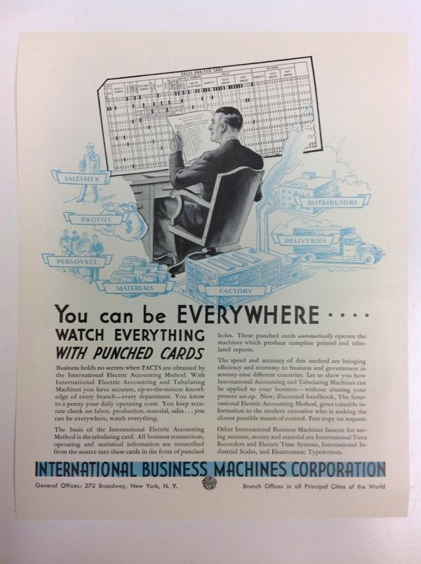 """You can be EVERYWHERE. WATCH EVERYTHING WITH PUNCHED CARDS"" IBM ad ~1950. Digital privacy isn't a new issue #CMAC14 http://t.co/OuB71XXaqm"