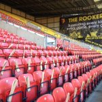 The sight which will greet #watfordfc fans in the Rookery later. Display foils ready for each seat and a new banner. http://t.co/l3WiF9hWbc