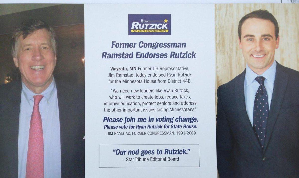 Peter Glessing (@PGless): Ramstad endorses @ryanrutzick! #mngop #mnleg #restorebalancemn http://t.co/PD7OszKHpA