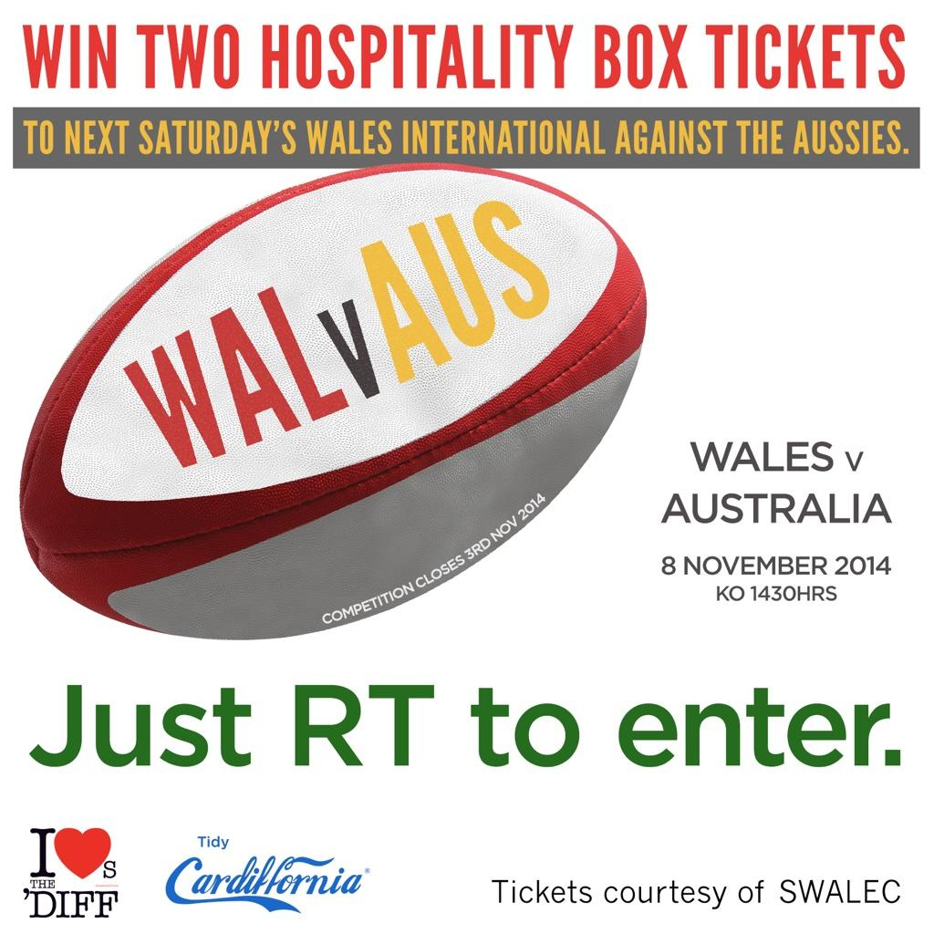 WIN 2 hospitality box tickets to next Sat's #WALvAUS match! Just RT to enter our comp. @SWALEC #SSESWALECdoingmore http://t.co/aoUSWCA60F