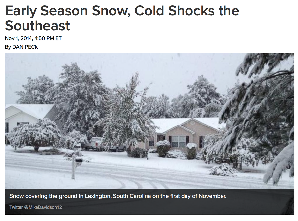 Early Season Snow, Cold Shocks the Southeast
