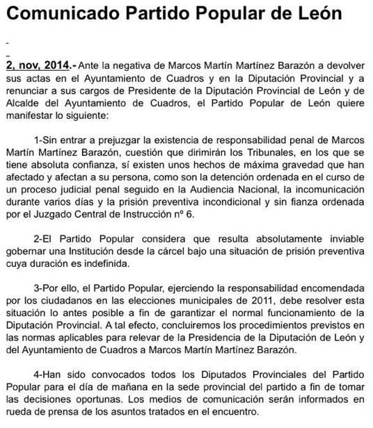El PP explicando que es complicado dirigir una Diputación desde la cárcel. El esperpento sin fin. http://t.co/qjnP0SzQlI