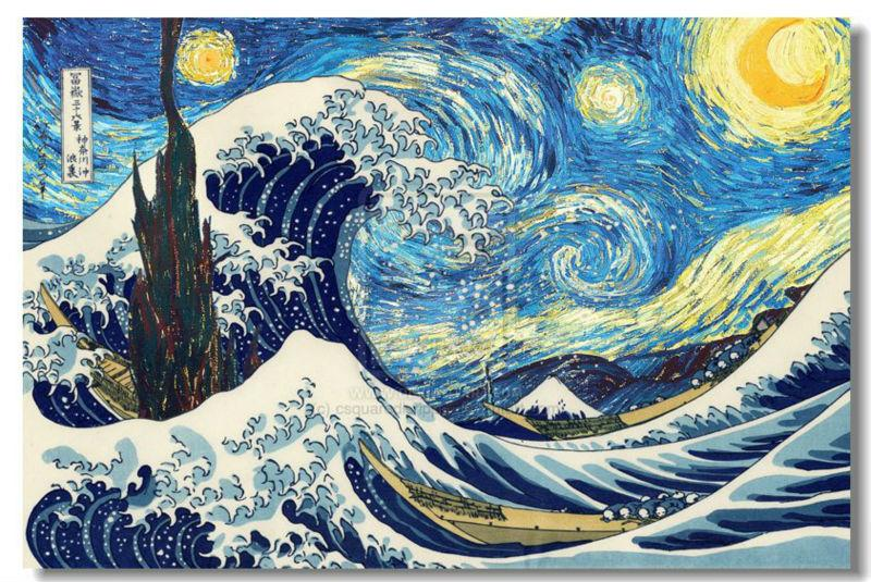 "Van Gogh's ""The Starry Night"" and Hokusai's ""The Great Wave off Kanagawa"" in one painting. http://t.co/uOyPoGl9Tw"