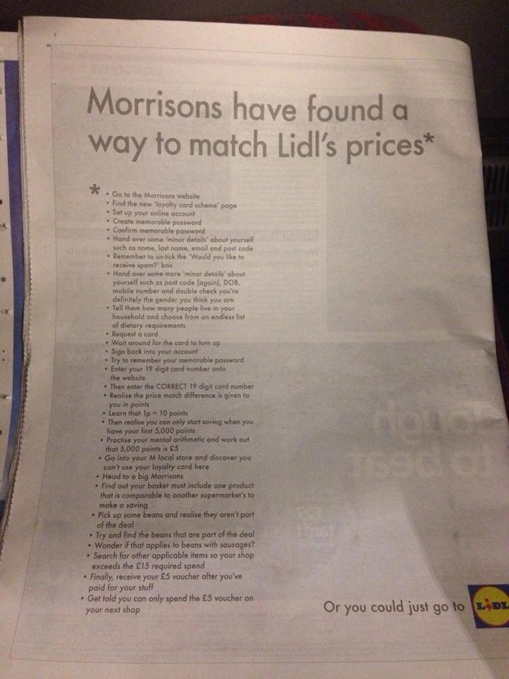 .@Morrisons getting owned by @LidlUK. #marketing #advertising #communications http://t.co/1nRWUYeng9