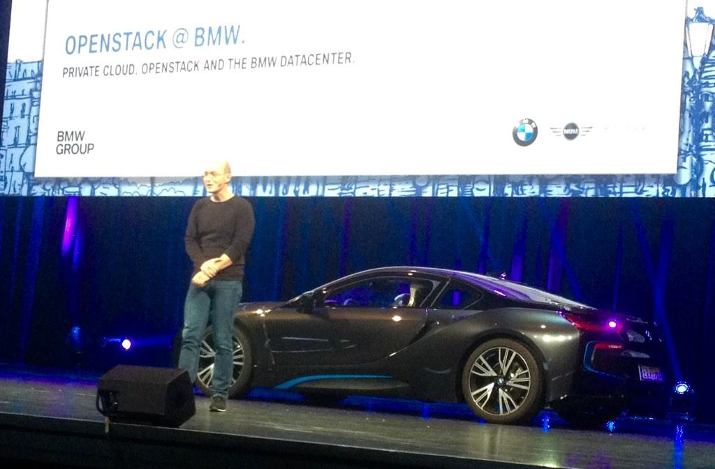 Newest flagship @OpenStack customer... BMW - An i8 just drove on stage at #OpenStackSummit http://t.co/Mymu7KxRIc