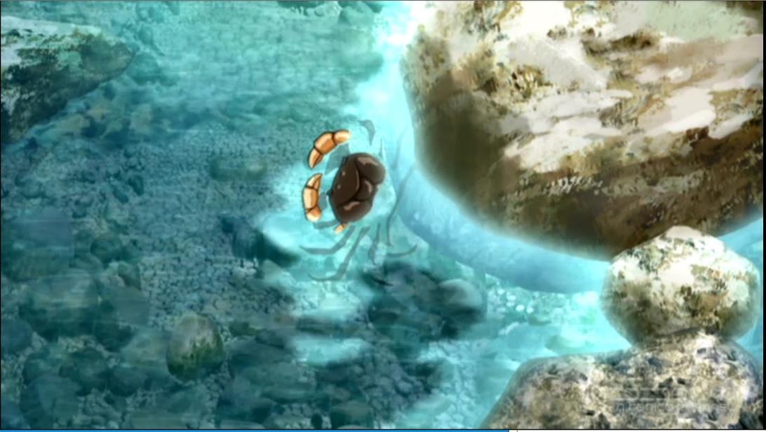 「失われた未来を求めて」第4話よりカニのシーン。ピクニックに行った渓谷でのシーンであることから、サワガニを想定したものと