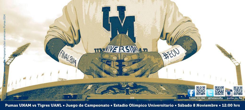 Juego de Campeonato 8 Grandes #LigaMayor #ONEFA:   @Autenticos_UANL VS @PumasCUFBA  Sábado 12:00 Hrs http://t.co/Vys2DhSYTA