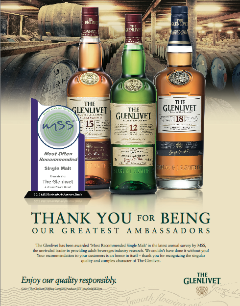 .@TheGlenlivet has been awarded 'Most Recommended Single Malt' in the latest annual survey by MSS. #ToastToThat http://t.co/E9JLSHApry
