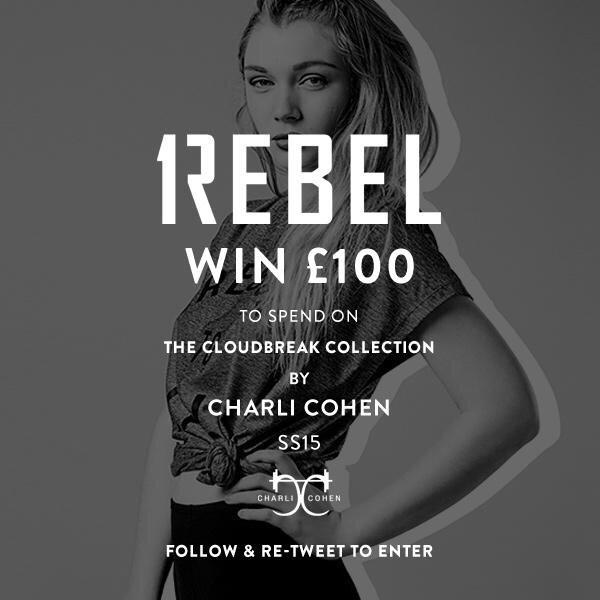 Want to win £100 to spend on the @CharliCohen #SS15 range? RETWEET and follow @1Rebel_UK to enter! http://t.co/Rav7vHulg7