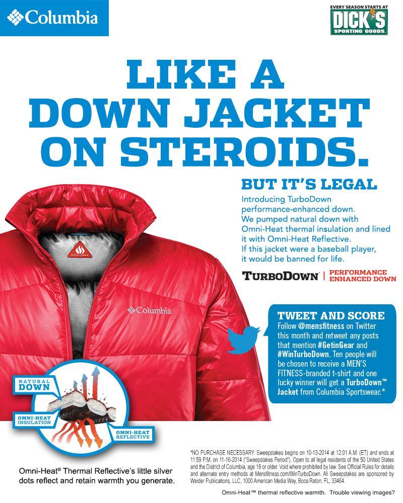 Keep the heat in! Retweet to win a Columbia TurboDown Jacket for the winter! #WinTurboDown #GetInGear http://t.co/eiE7L2r7tR