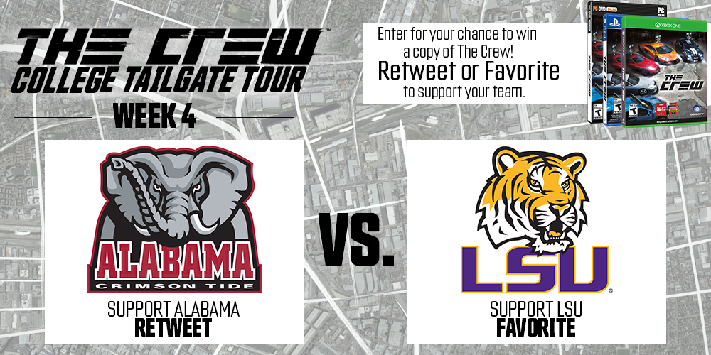 This week @TheCrewGame College Tailgate Tour is at LSU vs. Alabama! RT or Fave for a chance to WIN! #NeverDriveAlone http://t.co/eTX59BFVjz