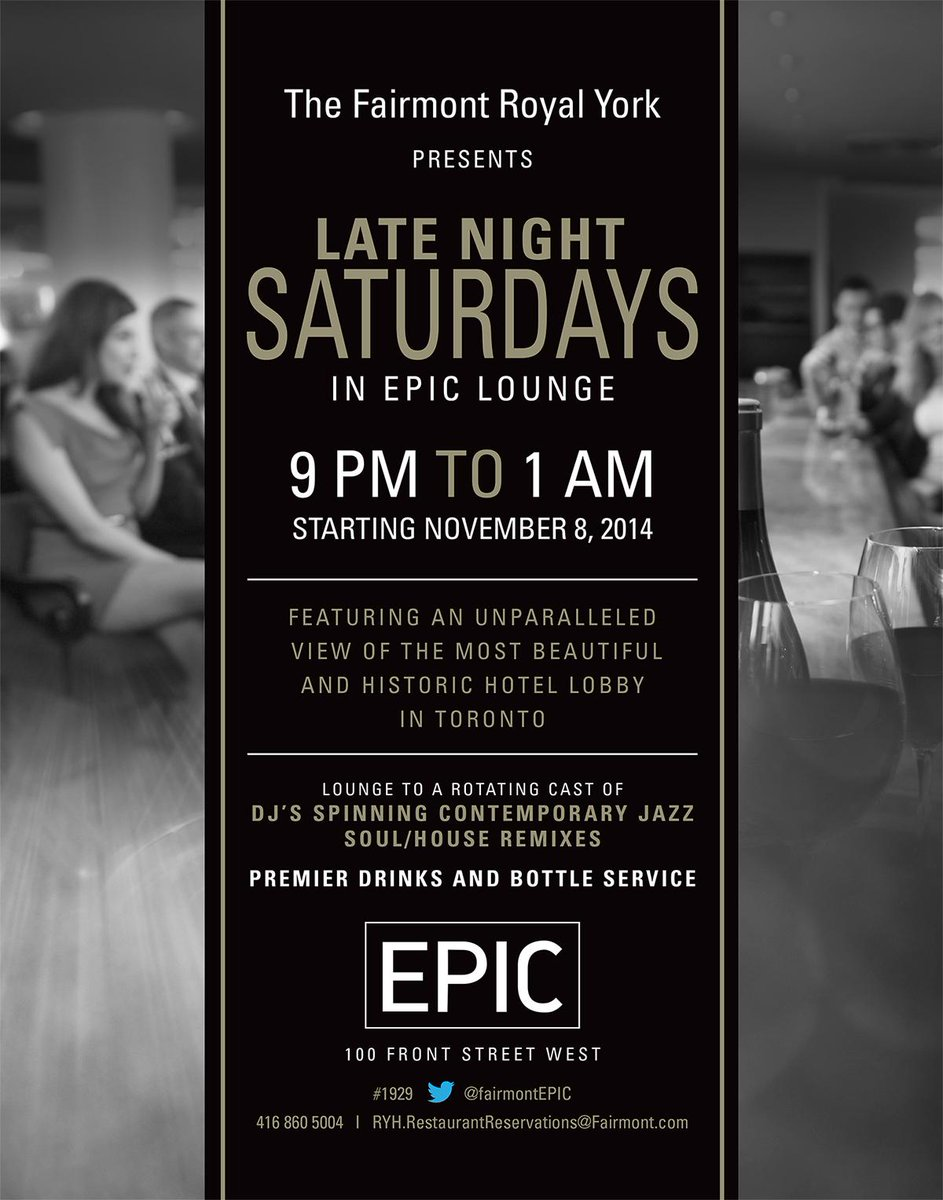 Saturday nights just got more #EPIC! #livemusic & #bottleservice. RT for your chance to WIN din for 2 @FairmontEPIC http://t.co/oGWuMam3t9