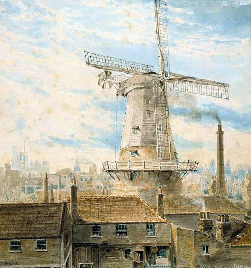 @SirWilliamD Windmill near Lambeth Walk painted in 1820 by Henry Pyall. Probably demolished for railway into Waterloo http://t.co/a1pl7bAzFL