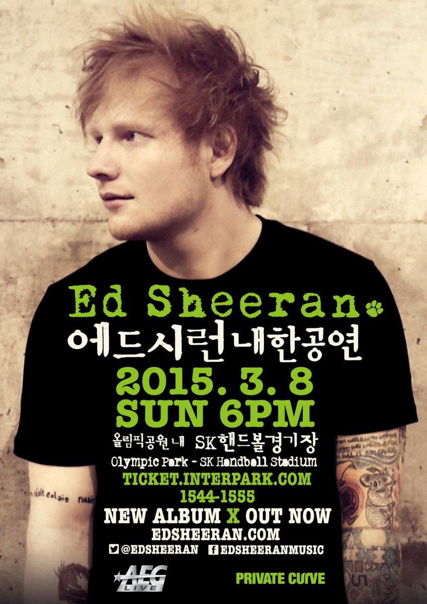 [TICKET INFO] 단 두 장의 앨범으로 팝 역사를 매일 갈아치우는 에드 시런(Ed Sheeran) 첫 내한 공연! *예매오픈: 11.11(화) 낮 12시 http://t.co/gXVutMjYRU http://t.co/i1rr0Qq7Ks