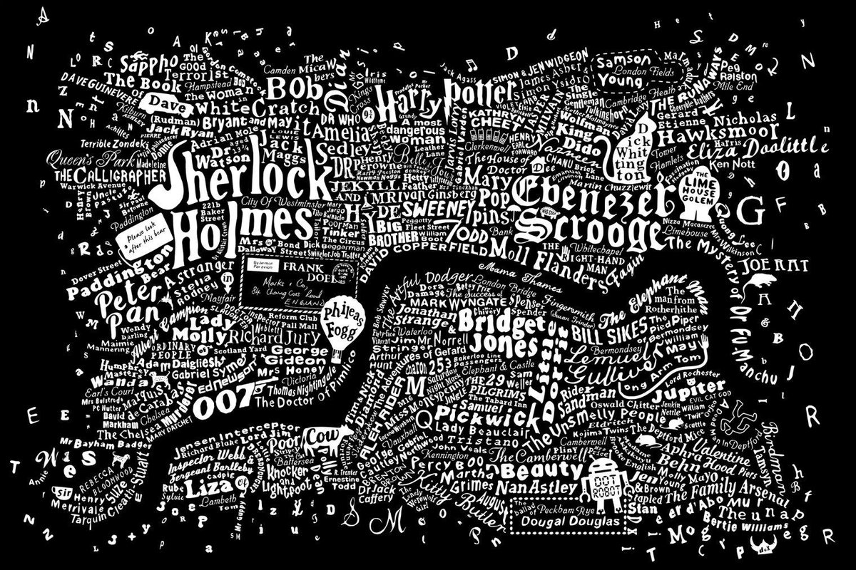 Mama Thames gets the river to herself (as it should be) on this map of Literary London. http://t.co/rKuP3YBtUD