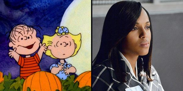 Whoops! That time the CharlieBrown Halloween special was capped off with a Scandal sex scene