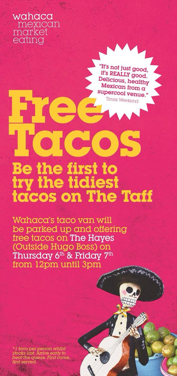 Thurs & Fri, we're dishing out Free #TidyTacos @StDavidsCardiff (outside Hugo Boss) 12 - 3pm. See you there Cardiff. http://t.co/ZPsOplqOqJ