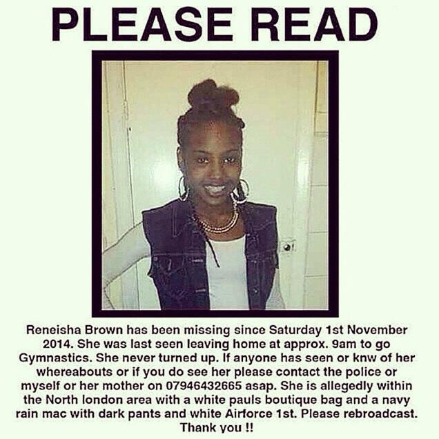 Raising awareness at this stage is crucial! Please repost so this young girl can be brought home!  #ReneishaBrown http://t.co/pWbZ3kiZmb