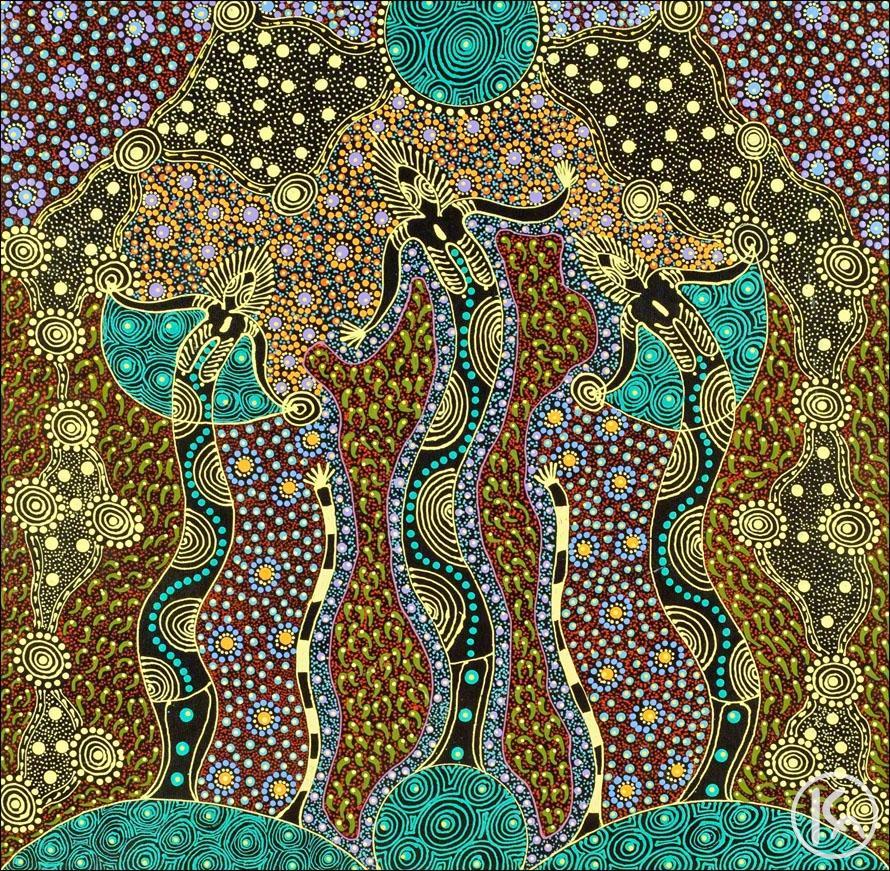 'Dreamtime Sisters' - Colleen Wallace Nungari (Australian Aboriginal Art) http://t.co/xXZnBQCZZJ via @yebosfaye